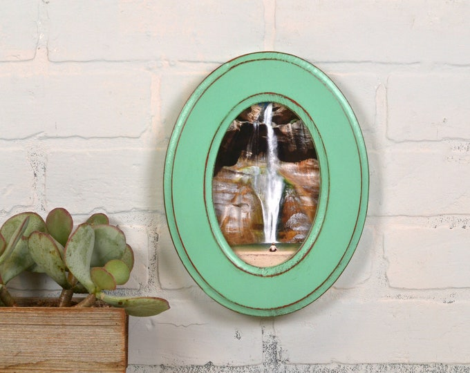 4x6 Oval Opening Picture Frame Oval Shaped Outside with Red under Robin's Egg Finish - Solid Poplar Wood 4 x 6 - IN STOCK Same Day Shipping