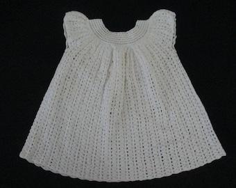 Vintage  Baby Dress 1950's Hand Crochet Doll Dress