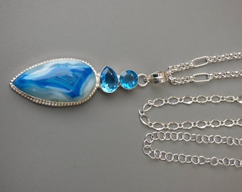 Deep Blue and White Agate and Blue Topaz Gemstone Necklace, Sterling Silver Pt Rolo designer chain, Gift Boxed - OOAK  - (One of a Kind)