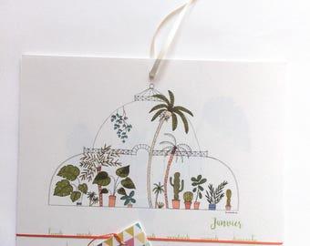 Calendrier 2018, calendrier mural 2018, calendrier 2018 avec un tableau - jardin tropical, plantes, cactus, calendrier 2018 avec un ruban