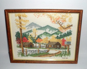 Vintage 8x10 Framed Cross Stitch Houses / Cabins Mountains Mailbox Trees