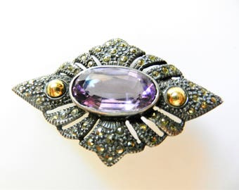 Antique fine Edwardian Amethyst and marcasite brooch - bright stones set into lovely open design in 925 silver and 18K gold - Art.859/4