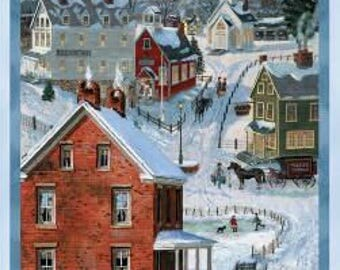 AFTER THE SNOW/Bob Fair/Panel/Winter Scene/Quilting/Winter Fabric/72251-431/Quilt Fabric Panel/House Quilt Fabric/Bob Fair Quilting
