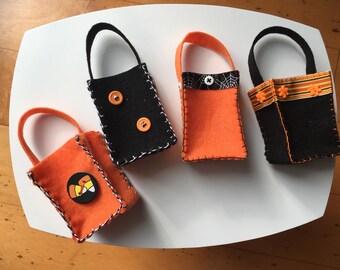 4 Felt Halloween Treat Bags