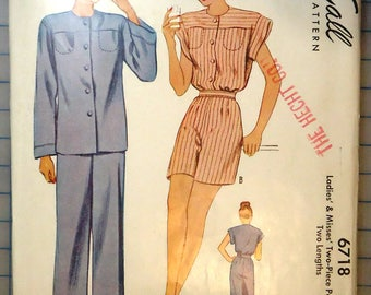 McCall 6718 - 1940s Vintage Sewing Pattern - Ladies Two-Piece Pajama Play Suit