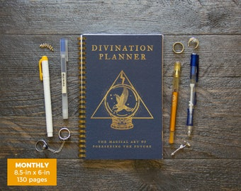 Divination Planner Notebook - Blue  / Monthly / Half-Size / 24 Months / Pick Your Own Starting Month
