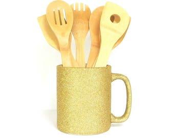 Gold Glittered Large Coffee Mug, Kitchen Utensil Holder