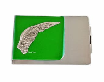 Angel Wing Large Money Clip Wallet Double Sided Inlaid in Hand Painted Green Opaque Glossy Enamel Finish with Personalized and Color Options