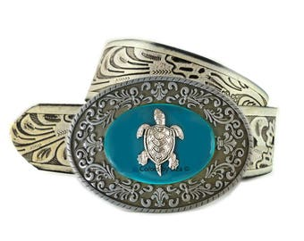 Sea Turtle Belt Buckle Inlaid in Hand Painted Teal Enamel Belt Buckle for Snap Belts Tropical Accessory Custom Colors Available