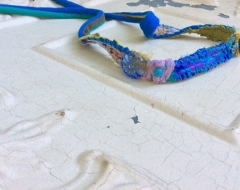 Bright Blue Headband Hatband or Choker
