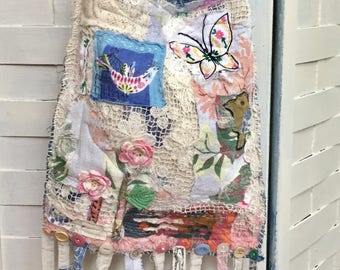 Pretty Shabby Chic Boho Crossbody Bag Handmade Lacey Bag