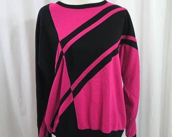 Vintage 1980s Pink Black Geometric Sweatshirt L