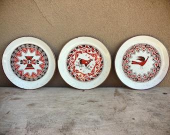 Three midcentury Japan stoneware dinnerware red brown Southwestern salad plates, Otagiri ceramic plates, Southwestern decor Native inspired