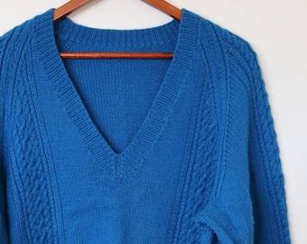 vintage handknitted woollen v neck jumper in cobalt blue