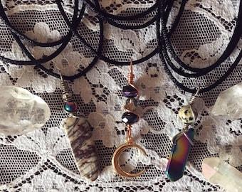 Wrap Around Layered Choker Charm Necklaces