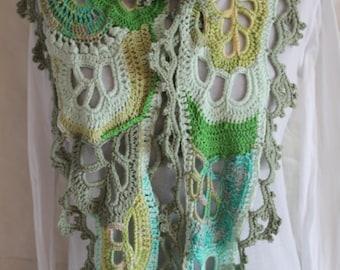 Lace Long Crochet Scarf, Freeform Crochet Cotton Scarf, Pastel knit scarf, triangle crochet scarf, boho chic scarf, gypsy hippie scarf