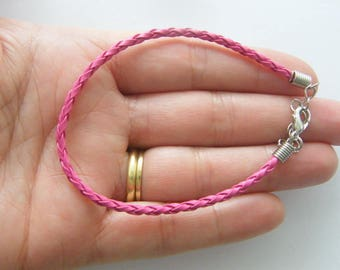4 Pink leather bracelets 24cm x 3mm