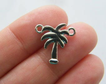 6 Palm tree connector charms silver tone T94