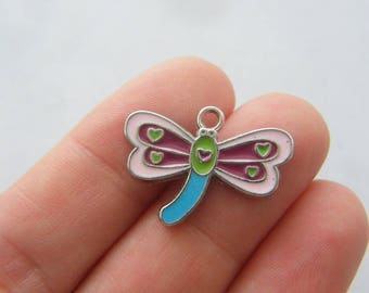 4 Dragonfly charms  silver tone A681