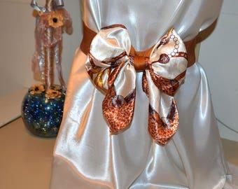 Bow cinch belt ,Wide elastic stretch corset belt, cinch belt with big bow, Caramel Brown and Cream belt