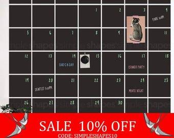 Summer Sale - Chalkboard Wall Decal Calendar, Blackboard Calendar, Wall Calendar, Chalkboard Calendar Wall Sticker, Extra Large Calendar