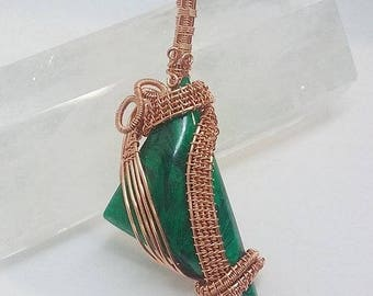 Hand wire wrap Bowerite in copper pendant by TashasTouch