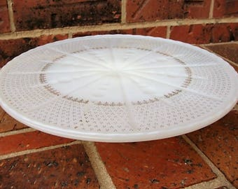 Milk Glass White Pedestal Cake Plate with 22 kt Gold Accents Anchorglass Anchor Glass