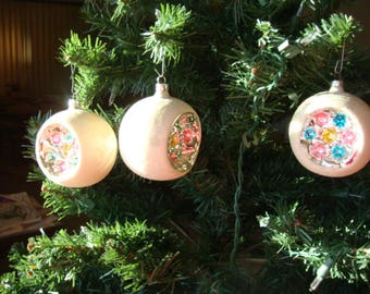 3 Indented Glitter Mercury Glass Christmas Ornaments West Germany 1950's Aged Mercury Glass Christmas Ornaments