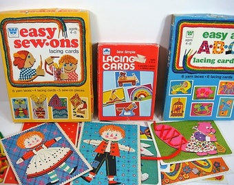 26 Sewing Cards Vintage Lace Up Sewing Card Lot Whitman and Golden Sewing Cards from 1970's & 1980's