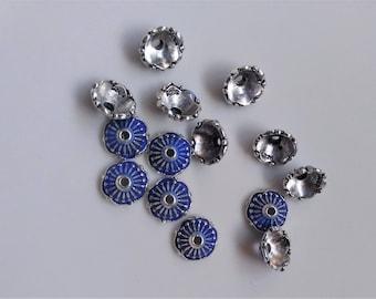 4 PCs 9mm Tibetan bead caps, Tibetan beads, Flower Beads, Flower bead caps, Tibetan bead caps, Tibetan spacers, Findings, Blue beads caps