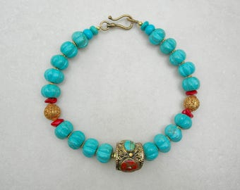 GORGEOUS Chunky Turquoise Choker, Large Turquoise Melon Beads, Tibetan Bronze Bead with Turquoise & Coral, Coral Disks, by SandraDesigns