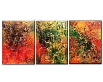 Textured Metallic Colorful multi panel Abstract Painting by Henry Parsinia 54x20