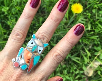 Vintage Zuni Pawn Inlay Turquoise Coral MOP Owl Ring