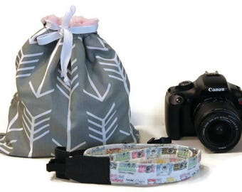 SET - DSLR camera Drop in Bag (Pouch) - thin camera strap - wrist strap