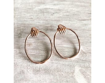 14 K Rose Gold Hoop Earrings