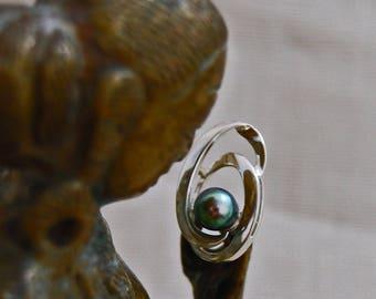 Beyla - Beautiful Black Peacock Pearl Hug pendant set in solid  Sterling Silver, freshwater pearl, pendant, gift, Anniversary, Birthday