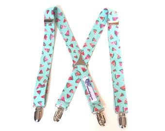 Watermelon Suspenders boys suspenders Watermelon Print Suspenders coral pink mint green Little Boys Suspenders baby suspenders watermelon