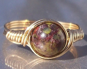 25% Off Sale Dragons Blood Jasper 14k Gold Filled Wire Wrapped Stone Ring
