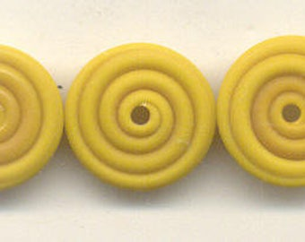 Tom's lampwork opaque satin (etched) frosted ochre (mustard) yellow 2 disc spacer set, 1 pair 95746-2