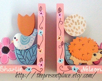girly forest bookends,hedgehog bookends,bird bookends,girly woodland bookends,coral bookends,kids bookend,personalized gift,jungle decor