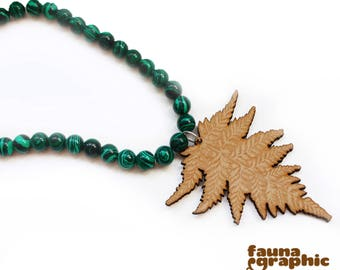 Malachite Necklace with lasercut Fern Pendant