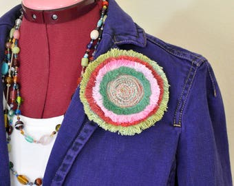 """Green Red Dyed Fringed Denim Brooch PIN CLIP - Green Pink Red Yellow Denim Circle Corsage Brooch 4"""" Pin - 71"""