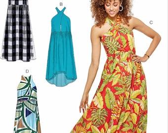 Halter Top Dress Pattern, Easy Pullover Sundress Pattern, High Low Sundress Pattern, McCall's Sewing Pattern 7595