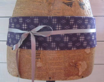 "Reversible obi belt in Japanese fabrics ""sakura"" plum and plum ""braces"""