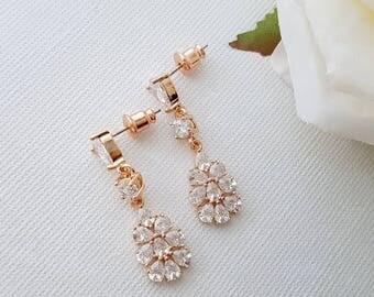 Rose Gold Bridal Earrings, Wedding Jewelry, Crystal Bridal Earrings, Wedding Earrings, Leaf Drop Earrings, Julia Earrings