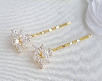 Wedding Crystal Bobby Pins Gold Bridal Hair Pins Rose Gold Pearl Hair Pins Wedding Hair Accessories, Nicole