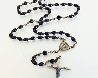 ON SALE Pretty Vintage Black Bead & Silver Rosary