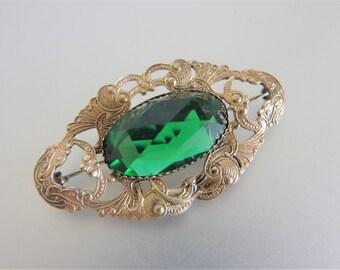 Vintage 1930's Art Deco Green Glass & Brass Brooch