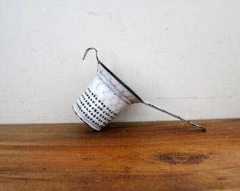 Vintage Blue and White Agate Colander Strainer Handled With Hook Tiny Strainer