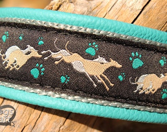 """Dog Collar """"Greyhound"""" by dogs-art for Boy/Girl Dog. Can be made into Buckle or Martingale Collar, leather dog collar, greyhound collar"""